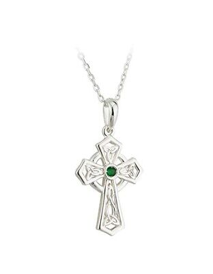 "Silver Cross Pendant Green Trinity Knot Celtic approx 1 1/8"" tall x 5/8"" wide"