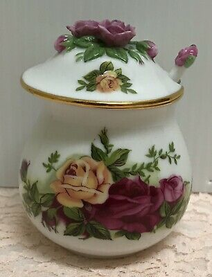 Rare Royal Albert Old Country Roses Pink Jam Jelly Jar, Honey Sugar Pot, & Spoon
