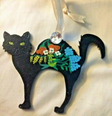 Black Cat hanging decoration, hand painted with pretty flowers by Anita.
