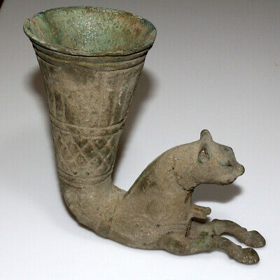 Very Rare - Persian Bronze Or Brass Zoomorphic Shaped Rhyton Ca 1400 Ad