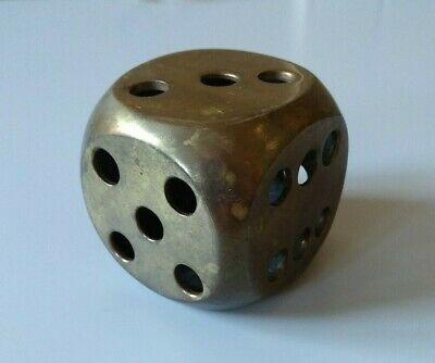 Vintage Dice Brass Paperweight Oversize
