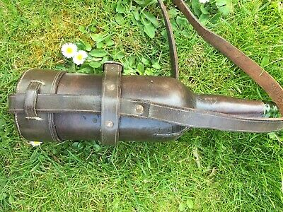 Vintage Old English leather covered Equine bottle with carry strap