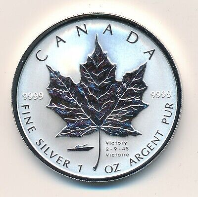 Canada 5 Dollars 2005 Vj Day  Fine Silver  - Proof .999