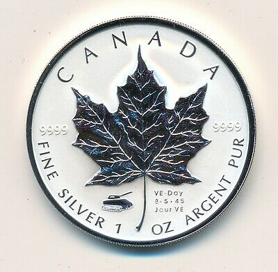 Canada 5 Dollars 2005 Ve Day  Fine Silver  - Proof .999