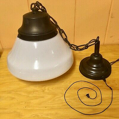 "Antique Vtg 11 1/2"" Milk Glass Shade School House Pendant Light Fixture Lamp"