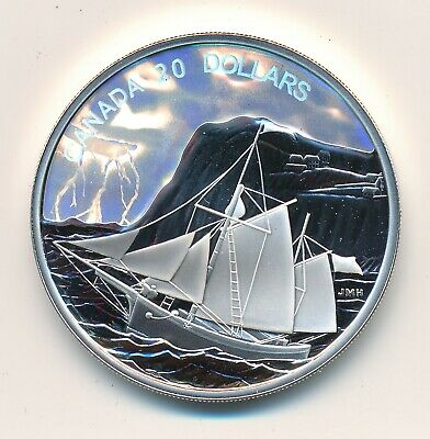 Canada 20 Dollars 2006 Tall Ships Ketch Hologram Fine Silver  -  Proof .999