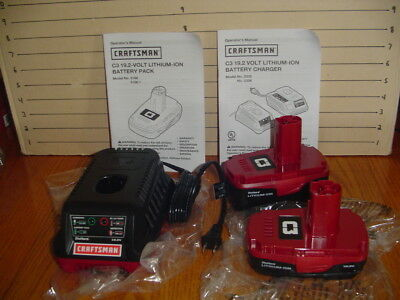 New Craftsman C3 19.2 Volt Lithium-Ion Battery Charger 5336 + (2) Batteries