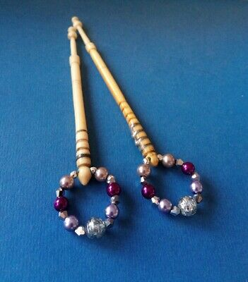 2 Victorian Bovine Bone Lace Bobbins. With Pewter on Shank. Spangles.
