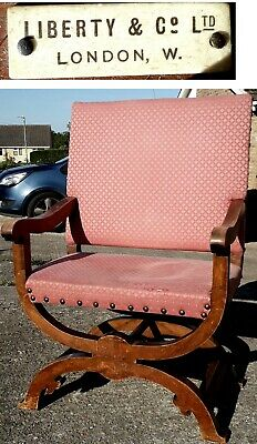 c.1890s Liberty & Co labelled throne large chair Gothic revival arts & crafts