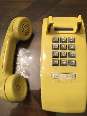 Vintage 70s Yellow Western Electric Bell System Push Button Wall Telephone 2554