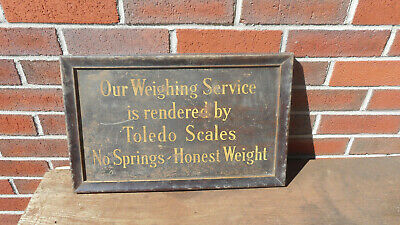 L4945- Antique Original Framed Tin General Store Toledo Scales Sign Early 1900s