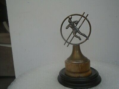Stylish antique silver plated football trophy with wooden base  NICE ATTIC FIND