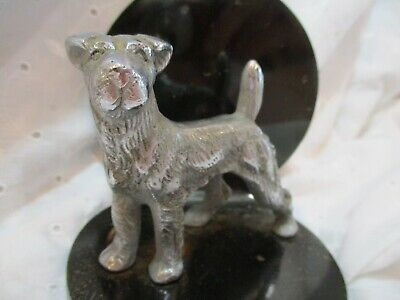 Rare Antique 1934 Heavy Cast Iron Doorstop Bookend Wire Haired Terrier Dog