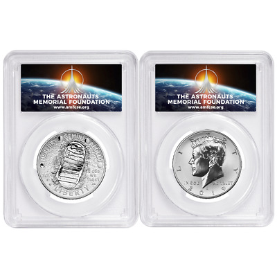 2019-S 50c Apollo 11 50th Ann. Half Dollar 2pc. Set PCGS PR69 FDOI AMF Label