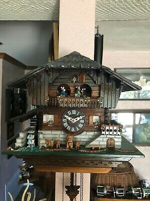 Working Vintage Four Function Chalet Cuckoo Clock West German Movement