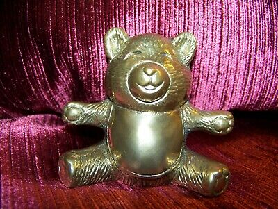 """Solid BRASS BEAR, """"I love you THIS much"""", Keepsake  3 inch high,"""