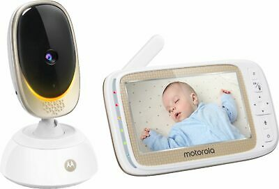 "Motorola - Video Baby Monitor with Wi-Fi camera and 5"" Screen - Gold/White"