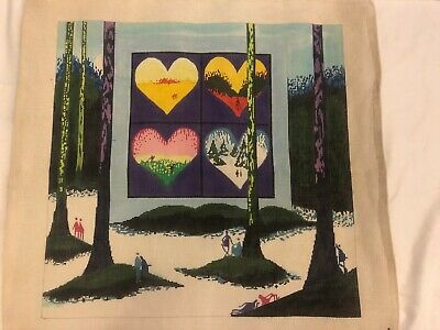 Leo Posillico Handpainted Needlepoint Canvas Contemporary Artist Landscape Heart