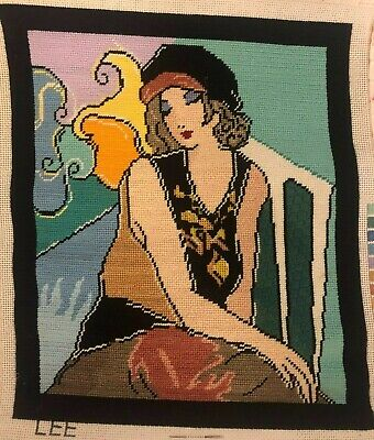 Lee Completed Needlepoint Canvas 1920s Woman Portrait Flapper
