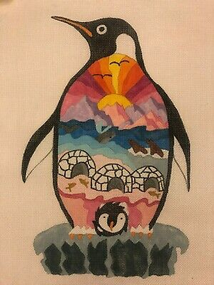 Susan Treglown Mod Penguin Handpainted Needlepoint Canvas Igloo