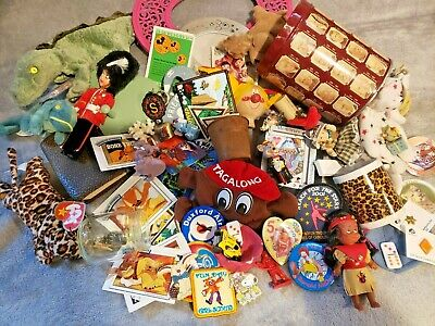 Huge Vintage Toy Lot, Girl Scout patches,Pins,Disney Vintage,Dolls,Beanie Babies