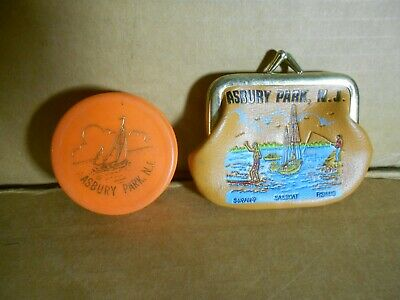 Vintage Asbury Park New Jersey NJ Collectible Souvenir Change Purse & Cup