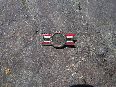 """Vintage WWII Sterling Silver Army Navy """"E"""" Production Award Enameled Badge Pin"""