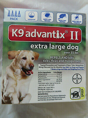Bayer K9 Advantix Ii Extra Large Dog Tick Flea Treatment Control 4 Monthly Doses