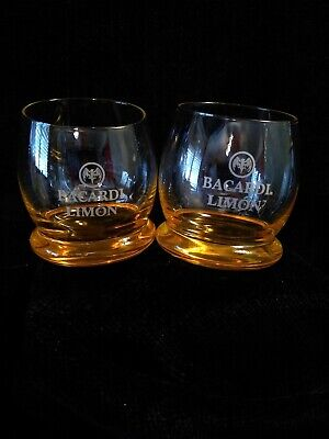 2  BACARDI LIMON glasses-WOBBLEY ROLY POLY bottoms