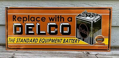 Vintage Delco Battery Cleaning Porcelain Sign Gas Oil Rack Plate Double Sided