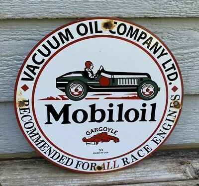 Vintage 1933 Mobiloil Moblie Oil Vacuum Porcelain Sign Gargoyle Gas Battery