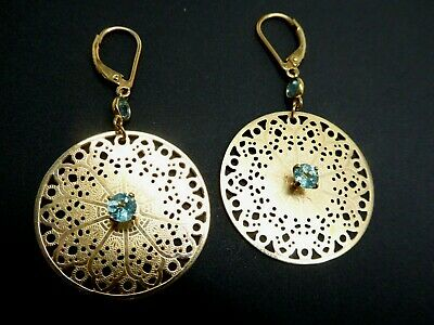 Vintage Filigree Signed Sterling 925 Gold Wash Blue Topaz Leverback Earrings