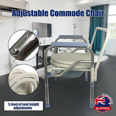 Commode Shower Chair Bedside Bathroom Potty Chair Seat Adjustable Height D