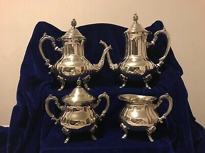 Vintage Towle -Silverplated 4pc footed Coffee/Tea Set with Sugar and Creamer .