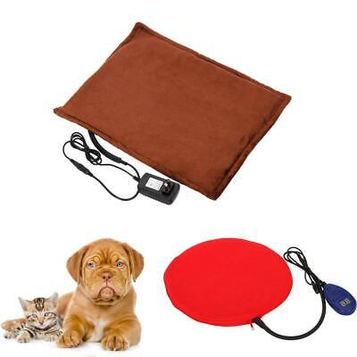110V~240V Heated Warmer Bed Pad For Pet Dog Cat Reptile Power Adapter Brown Red
