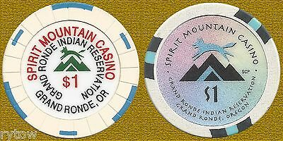 2 Different $1 Chips From Spirit Mountain Casino ~ Grand Ronde, Oregon