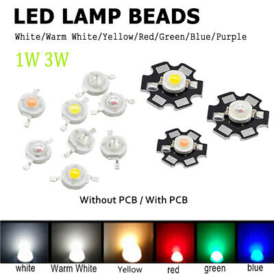 100X Lights Lot LED COB Chip With Star PCB SMD White Red Blue Yellow 1W 3W