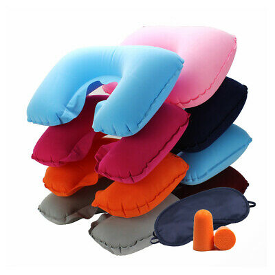3 in 1 U Inflatable Shaped Flight Travel Nap Head Rest Air Cushion Neck Pillow