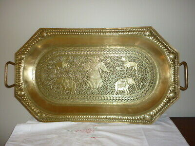 Magnificent large antique brass tray with handles filligree pierced work C1930's