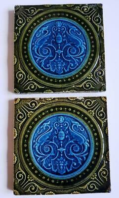 Two beautiful and unusual Gothic tiles, circa 1900s