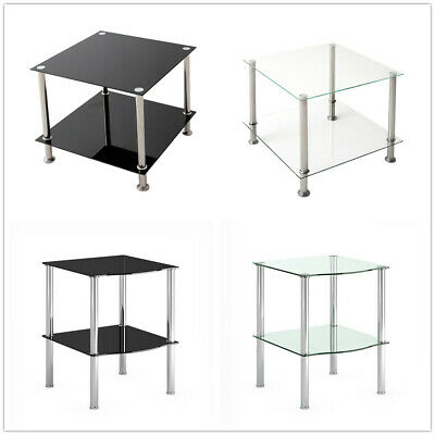 Modern 2 Tier Glass Square Coffee Table Tea Side End Storage Shelves Console UK