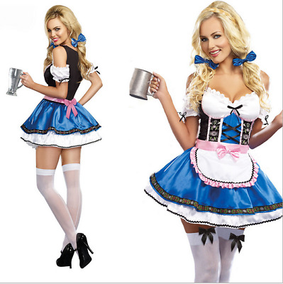 New Octoberfest German Bavarian Beer  Costume Women's Fancy Dress S--XXL