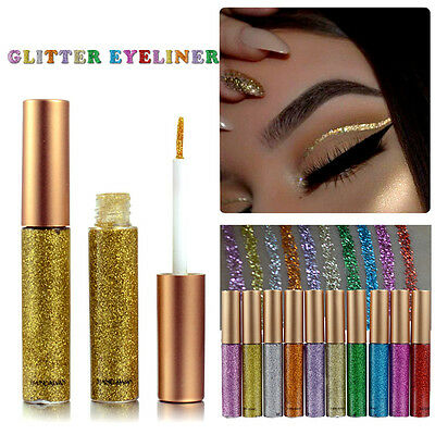 Waterproof Shiny Smoky Eyeshadow Glitter Liquid Eyeliner Metallic Makeup Silver