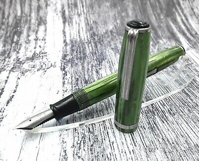 Serviced Vintage 1950s easterbrook green marble fountain pens fully working
