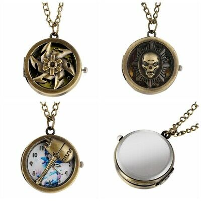 Necklace Women's Quartz Pocket Watches Men Gifts Analog Round Dial Half Hunter