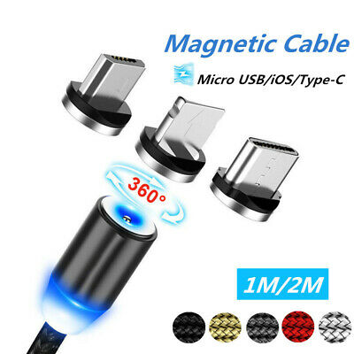 1-2m Braided Magnetic Lightning+USB Charger Charging Cable For Android&iPhone