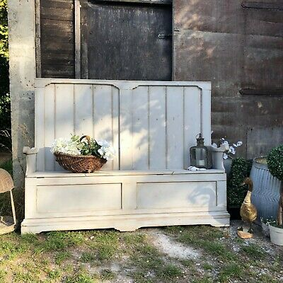 Grey Painted Country Farmhouse Rustic Patina Vintage Pine Settle Bench Storage