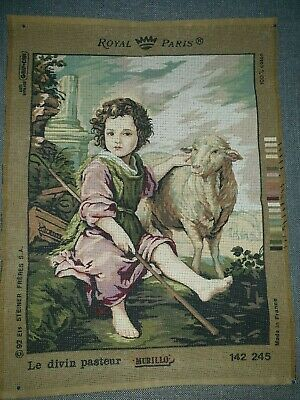 """Tapestry Canvas Royal Paris """"Murillo"""" Child Shepherd with Sheep"""
