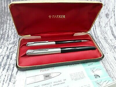 serviced early Parker 51 fountain pen propelling pencil box set