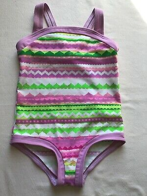 Girls Age 3-4 Years Swim Costume M&S Lilac/Green Hearts Shapes Design